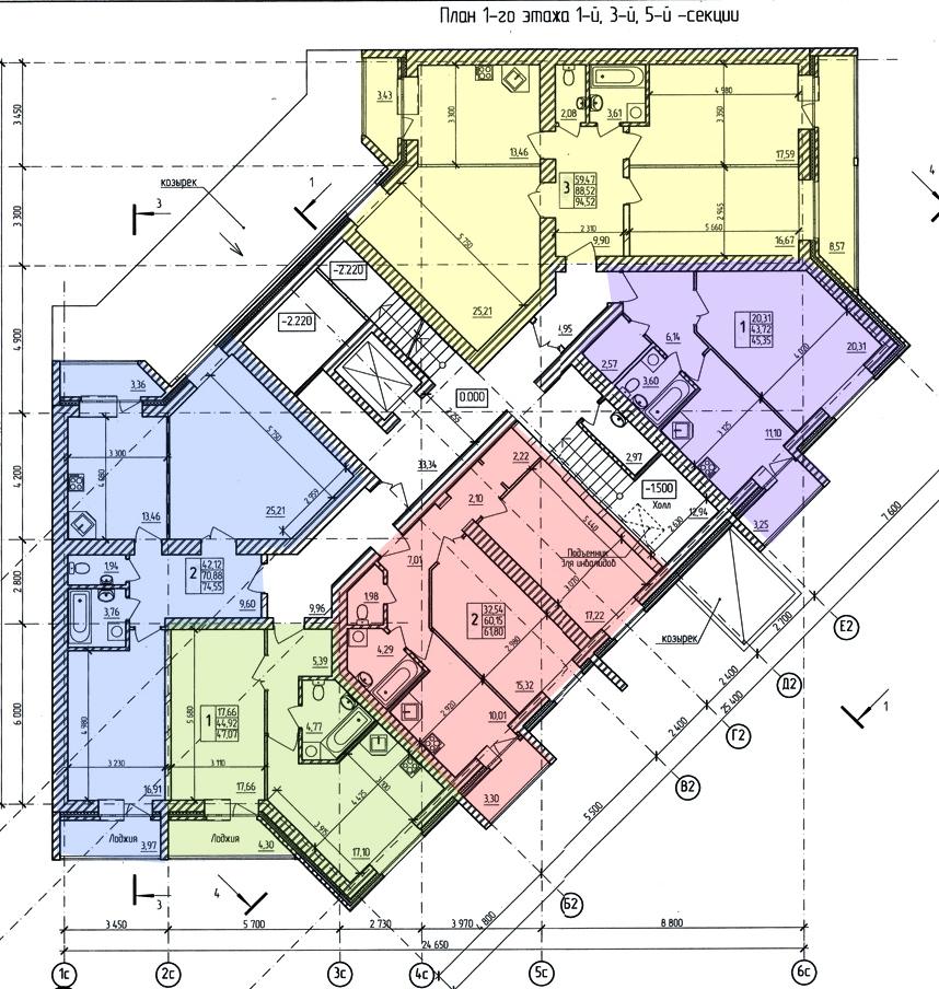 проект 1 этажа дома на Кибальчича (секция 1-3-5)