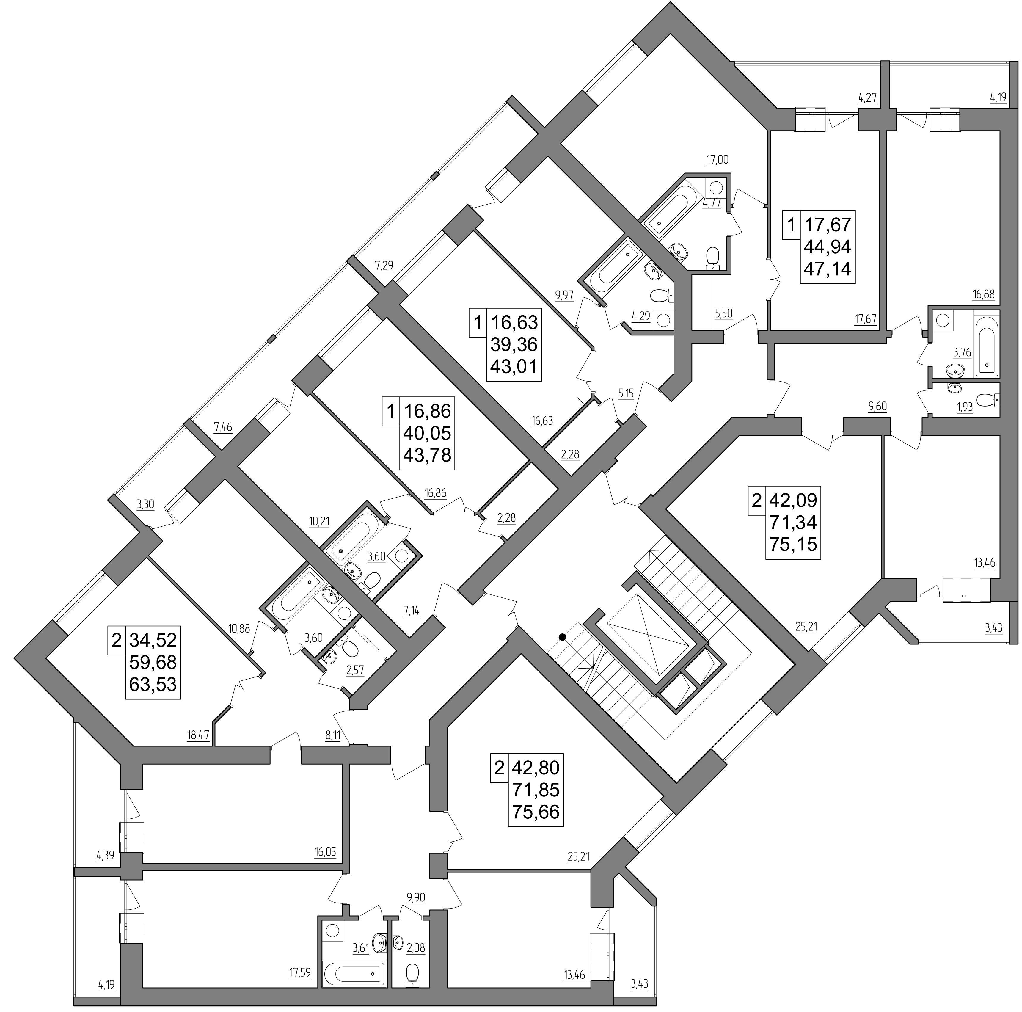проект 1 этажа дома на Кибальчича (секция 2-4-6)