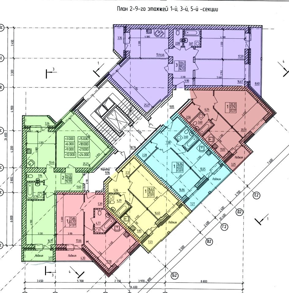 проект 2-9 этажа дома на Кибальчича (секция 1-3-5)
