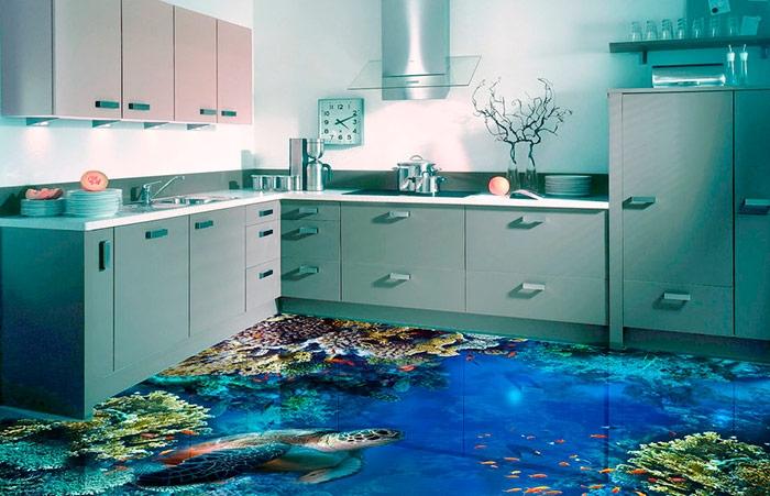 В домашних условиях 3d-наливной пол с цветами, пляжем, дельфинами выглядит безвкусно и дёшево